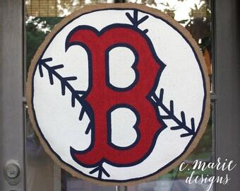 Boston Red Sox Baseball Burlap Door Hanger