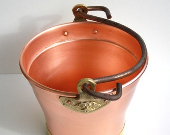 Vase/cooler/container made of copper with iron and brass inserts