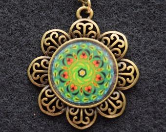 "Mandala Flower Necklace - ""Katrina"" 24"" Vintage Brass Chain"