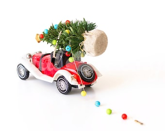 Vintage Car Christmas Tree Lights Ornament Rear Corner Mock up Styled Stock Photography Christmas  Photo Design Xmas Tree Image
