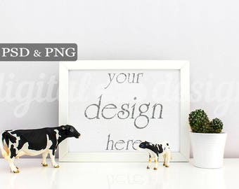 Nursery Frame Styled Stock Photography Baby Room Cow Horizontal Mockup Download Nursery Frame Empty Frame Product Digital Background Photo