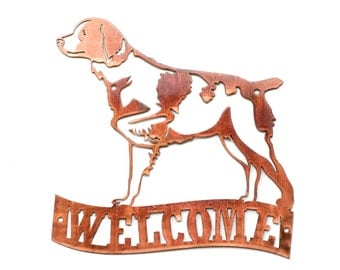 Brittany Spaniel - On Point - Welcome Sign - CAN BE CUSTOMIZED!