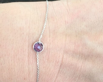 14k solid white gold and purple amethyst  everyday bracelet, February  birth stone