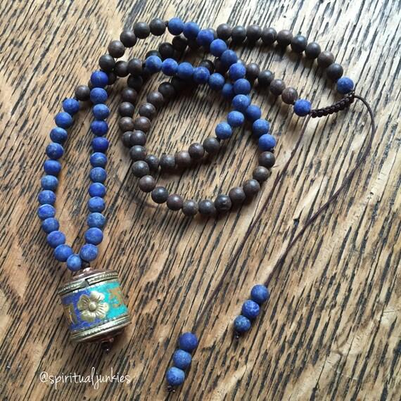 108 Bead Agarwood, Matte Lapis + Tibetan Prayer Wheel Spiritual Junkies Yoga and Meditation Mini Mala