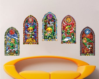 All 5 Zelda Stained Glass Wall Decal Sticker Video Games Windmaker Wall Decals Sticker Kids Bedroom Decal Designs Zelda Mural Stickers, s75