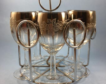 Silver fade embossed wine glasses with caddy