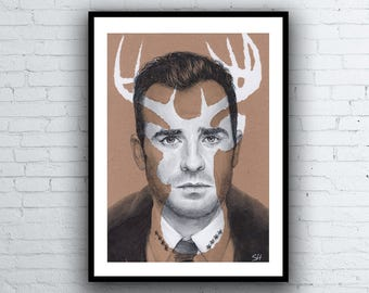The Leftovers Kevin Garvey Portrait Drawing - Limited Edition Giclée Art Print - Justin Theroux - A5 A4 A3 sizes
