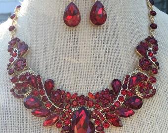 Gorgeous Ruby Red Downton Abbey Victorian Rhinestone Bib Necklace and Earring Set...Bride / Bridal / Wedding