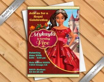 50% OFF SALE - Princess Elena of Avalor Birthday Invitation - Elena of Avalor Invitation - Printable Elena Princess Birthday Party Invites.