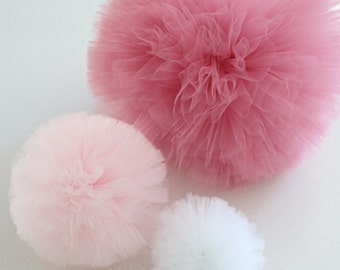 Set of 3 multi size tulle pom poms - small, medium and large - party decoration balls