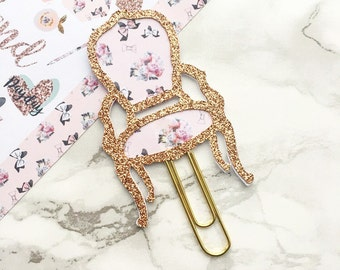 Rose Gold Glitter Chair Planner Clip
