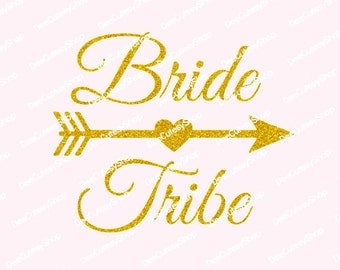 Bride Tribe Iron On, Non-Shed Glitter, Bride Iron On, Heart Arrow, Shirt Iron-On, Bride Tribe, Wedding Iron On, NOT DIGITAL, Iron-On Decal