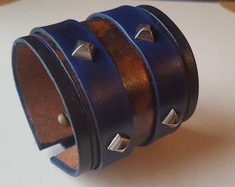 Genuine Leather Bracelet, Men's Spiked Bracelet, Leather Wide Bracelet, Men Leather Cuff, Brown Blue Bracelet