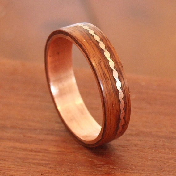 Wooden Rings Bentwood Rosewood & Copper Lined Rings Mens