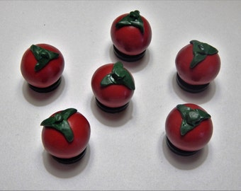 Set of 6: Red Tomato Veggie Magnets Handmade from Polymer Clay
