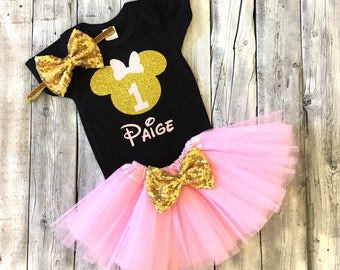 Personalized pink black gold minnie mouse 1st birthday outfit, Pink and gold minnie birthday outfit, pink gold first birthday minnie mouse