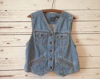 Vtg 90's denim vest / women's large