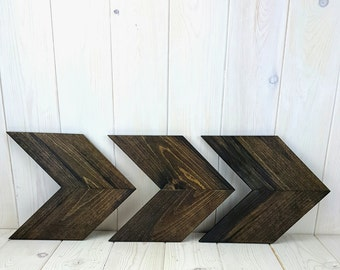 Wood Arrow Chevron Shabby Chic Wall Decor Art Unique Wall Decor - Kona Finish