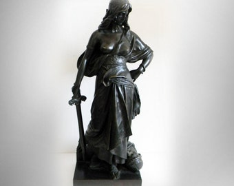"Eugene Aizelin original antique bronze sculpture ""Judith"" - circa 1880s"