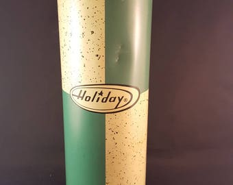 """Tall Green and White Vintage """"Holiday"""" Thermos Bottle"""
