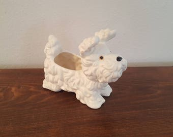 Inarco Shaggy White Dog Planter