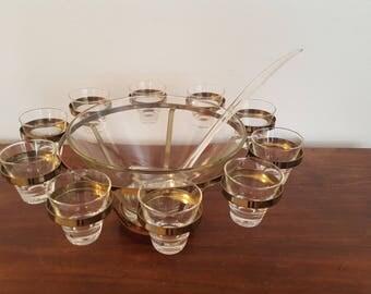 Mid Century Punch Bowl Set - 10 Glasses