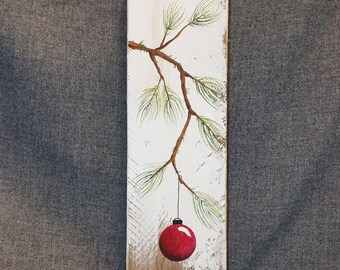 Red Hand painted Christmas decoration, Gift, Pine Branch with RED Bulb,  Reclaimed barnwood, Pallet art, Shabby chic