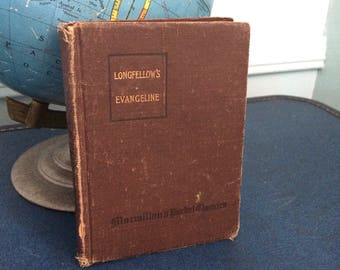 "Rare Books 1920's Vintage Poetry Book ""Evangeline"" by Henry Wadsworth Longfellow"