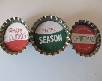 Christmas Bottle Cap Barrette-Gifts for Her-Gifts for Girls-Hair Accessories-Hair Clip-Bottle Cap Barrettes-Christmas Barrette