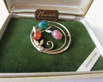 Vintage Krementz Pin with Stones Original Box
