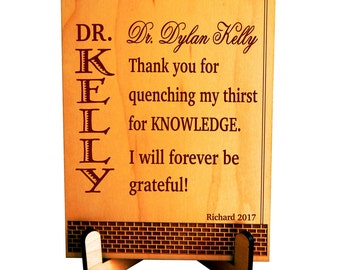 Best Plaque Gift for College Professor Teacher from Student, Custom Appreciation Thank You Gift for Teacher - Lecturer, Student to Mentor