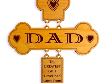 Gift to Dad on Father's Day,Daughter to Dad Custom Gift,Dad Wall Decor,Dad's Birth Day Gift, I Love You Dad Decorative Cross,Son to Dad Gift