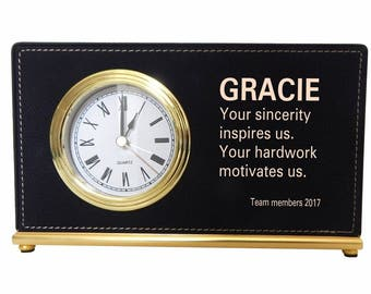 Desk Top Clock Gift for Team Lead, Personalized Appreciation Gift to Supervisor from the Team, Manager Custom Gift, LB004.
