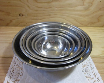 Set of 6 Vintage Stainless Steel Nesting Mixing Bowls * Stainless Steel Prep Bowls for Baking