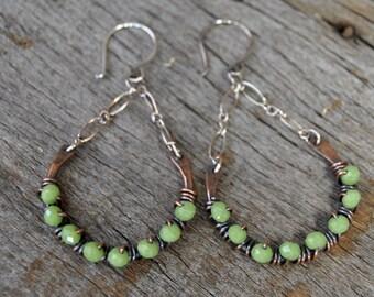 Copper Hoop Earrings, Beaded Dangle Earrings, Copper Dangle Earrings, Copper Earrings, Large Hoop Earrings