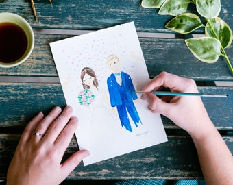 Custom Wedding, Anniversary Portrait Illustration,  Unique Wedding Drawing, watercolour, bride, groom, wedding gift, happy couple