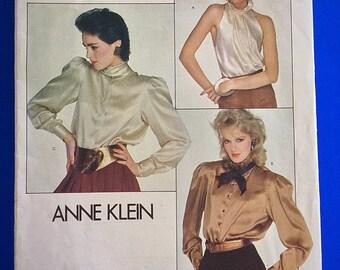 "80s Vogue Designer Blouse, Top, UNCUT, F/F, Size 12, Bust 34"", Vogue American Designer Anne Klein 2856."
