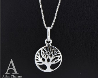 925 Sterling Silver Necklace Pendant Tree Of Life ladies women jewellery  Chain Atlas Charm