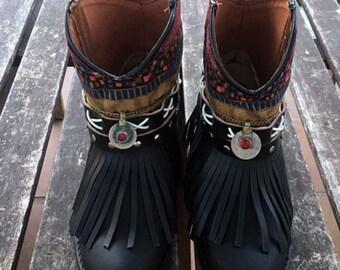 Latest Boho boots black handmade Num 6 us / Eu 37