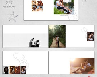 12X12, 10x10   PSD  (30 pages), Guest Book,  Album Template - 15 spread,  Clean Modern Design,Wedding - AL14
