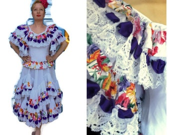 Vintage 1980's spanish Flamenco dress