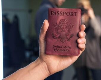 Ruby Leather Passport Holder - Passport Cover - Passport Case