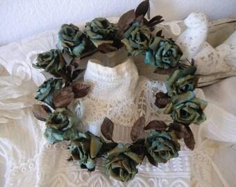 Vintage flower wreath from old altar flowers ~ Roses flowers wreath ~ paper flowers with patina ~ darkShabbyChic ~ roses flower wreath
