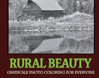 Coloring Book Adults Rural Beauty Grayscale Barns & Chickens Photo Coloring Book Digital Download  EBOOK pdf file 20 pages