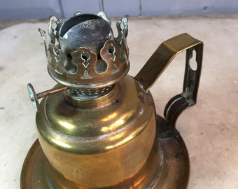 Antique brass oil lamp base by Falks