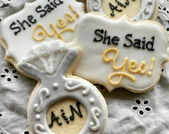 Engagement Party Cookies_Rings and She Said Yes Favors