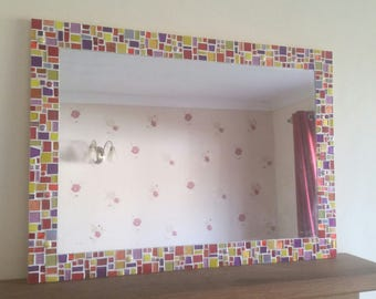 Large Mosaic Wall Mirror in Red, Purple, Orange & Yellow 70x50cm