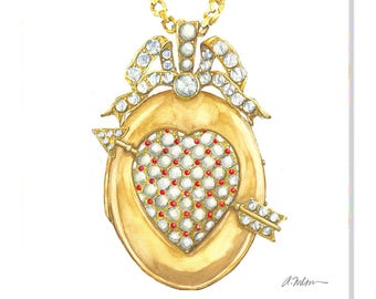 Victorian Locket Watercolor Rendering in Yellow Gold with Corals, Pearls and Diamonds printed on Canvas