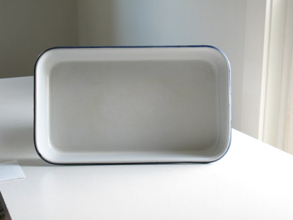 Vintage Blue And White Enamelware Baking Pan Enamel Cookware