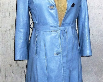 Vintage Leather Midi Coat 1970s Powder Blue Montreal Made Excellent Condition